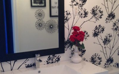 Bathroom transformation – Floral wallpaper