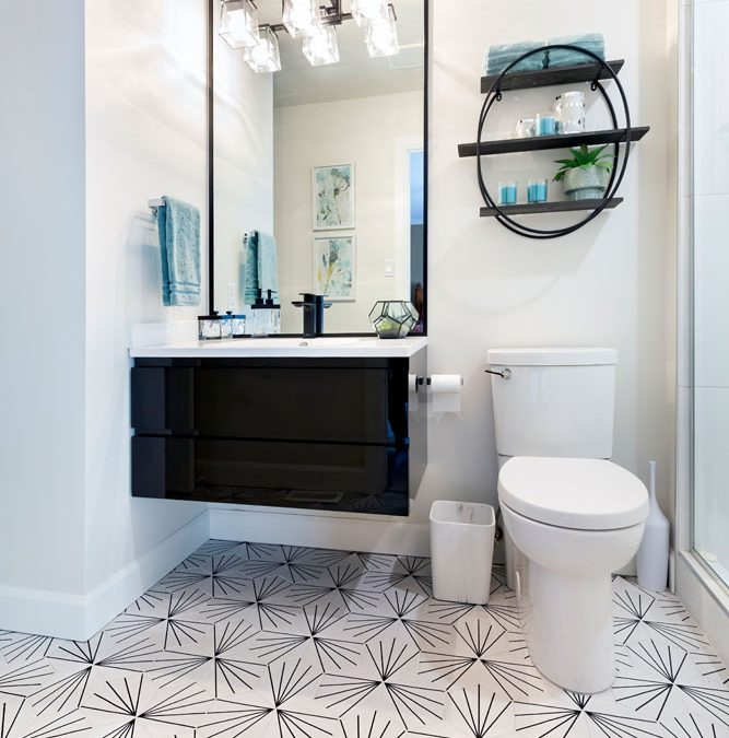 Small Space Modern Black and White Bathroom